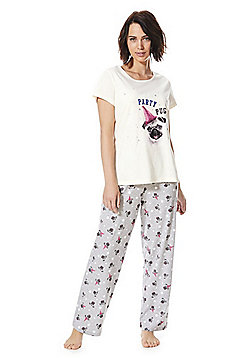 F F Party Pug Pyjamas - Pink   Grey c9241e297
