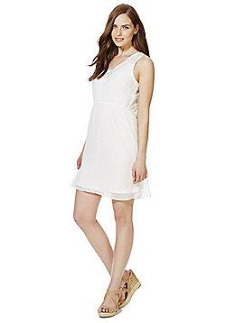 Vero Moda Lace Trim Textured Dot Dress - White