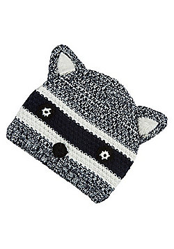 F&F Raccoon Face Fleece Lined Knitted Hat - Navy