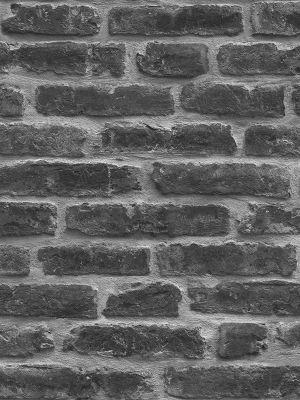 Rustic Brick Wallpaper - Black - J34409