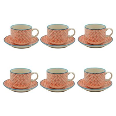 Patterned Stacking Cups and Saucer Set - Orange / Blue Design - x6