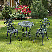 Outsunny 3PC Bistro Set Table Chairs Patio seat Outdoor Bench in Antique Green