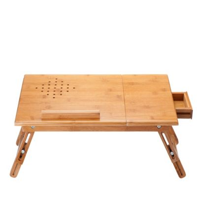VonHaus Bamboo Portable Folding Laptop/Notebook Table with Drawer