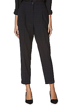 F&F Checked Turn-Up Tapered Trousers - Navy