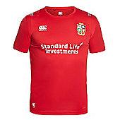 Canterbury British & Irish Lions Vapodri + 'Superlight' Kids Poly Small Logo Tee 16/17 - Tango Red - Red
