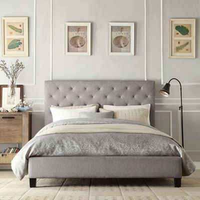 Charlotte 5ft King Size Fabric Low End Grey Bed Frame by 40 Zees. Buy Charlotte Fabric King 5ft Bed Grey from our King Size Beds