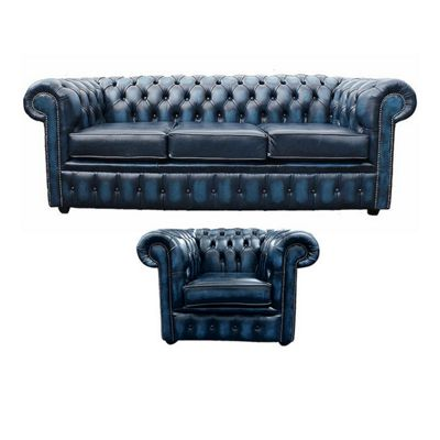 Chesterfield 3 Seater Sofa + Club Chair Leather Sofa Suite Antique blue