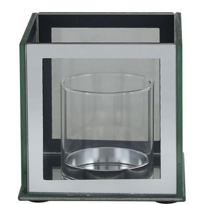 Mirror And Glass Pillar Candle Holder