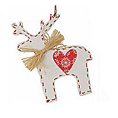 White Nordic Reindeer Christmas Tree Decoration