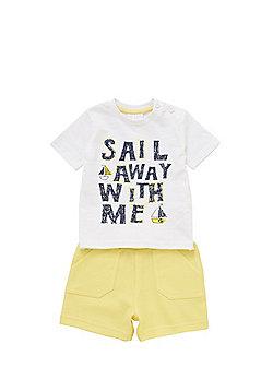 F&F Sail Away Slogan T-Shirt and Sweat Shorts Set - White & Yellow