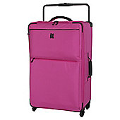 IT Luggage World's Lightest 4-Wheel Pink Check Large Suitcase
