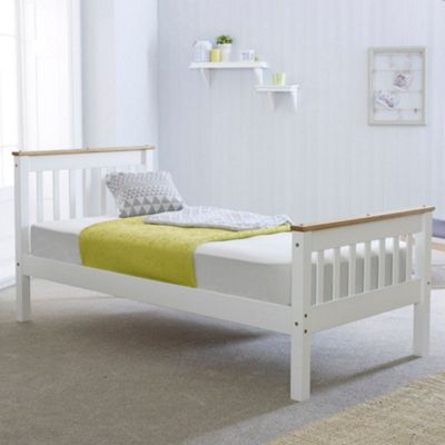 Happy Beds Devon Wood Low Foot End Bed with Memory Foam Mattress - White and Oak - 3ft Single