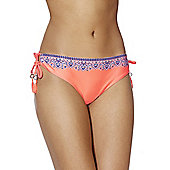 F&F Border Tile Print Side Tie Bikini Briefs - Orange
