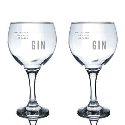 Rink Drink Engraved Spanish Gin Balloon Glasses - God Created Gin - 645ml - Pack of 2
