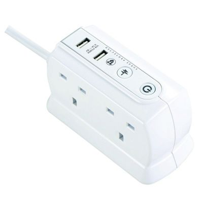 Surge Protected 1m 4 Socket Back to Back Extension Lead with Twin USB in White