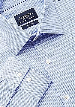 F&F Textured Easy Iron Slim Fit Shirt - Blue