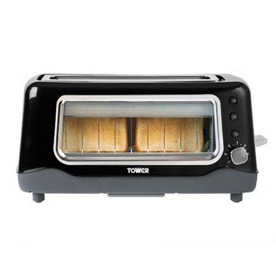 Tower 2-Slice Longshot Glass Toaster Black