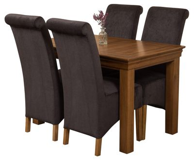 French Rustic 120cm Solid Oak Dining Set Table + 4 Black Fabric Chairs
