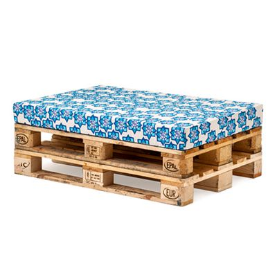 Stamp Turquoise Printed Water Resistant Pallet Furniture Seat Cushion Pad