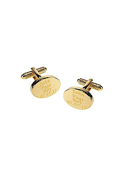 Personalised & Engraved Wedding Cufflinks for the Page Boy Oval Gold Plated Finish