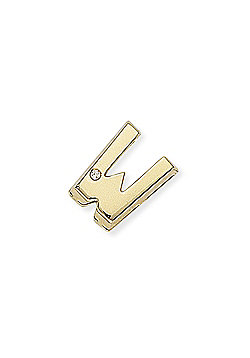 Jewelco London 9ct Yellow Gold - Diamond - W' Initial Charm Pendant -