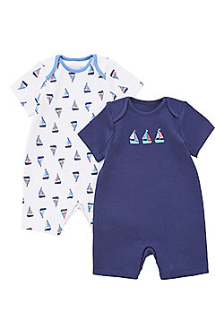 F&F 2 Pack of Boat Print Short Sleeve Rompers - Multi