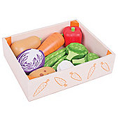 Bigjigs Toys Wooden Vegetable Crate - Play Food and Role Play Toys