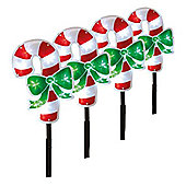 Pack of 4 Candy Cane Pathfinder Stake Lights