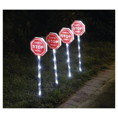 Buy Santa Stop Here Led Path Marker Signs 4 Pack From Our