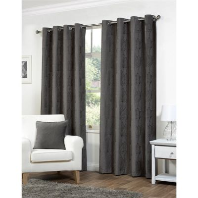 Hamilton McBride Palma Lined Eyelet Charcoal Curtains - 66x54 Inches (168x137cm)