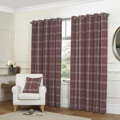 Rapport Red Check Eyelet Curtains - 90x90 Inches (229x229cm)
