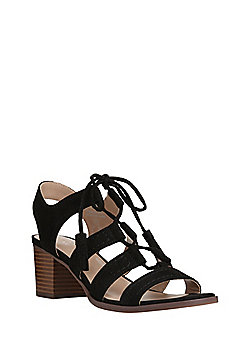F&F Block Heel Ghillie Sandals - Black