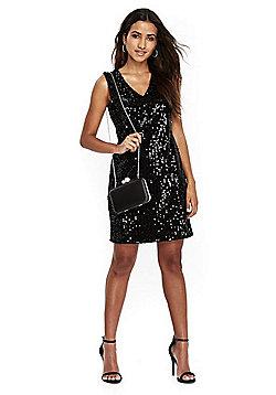 Wallis Petite Sequin Shift Dress - Black