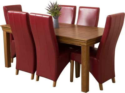 French Chateau Rustic Solid Oak 180 cm Dining Table with 6 Red Lola Leather Chairs