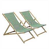 Traditional Adjustable Garden / Beach-style Deck Chair - Green / White Stripe - Pack of 2