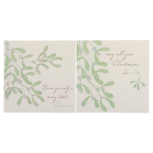 Tesco Mistletoe Christmas Cards, 12 Pack