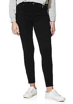 F&F Mid Rise Zip Ankle Twill Skinny Trousers - Black