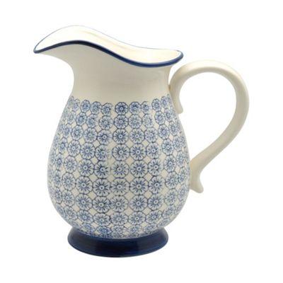 Large Patterned Vase / Water Jug - Blue Flower Print 2.2 Litres