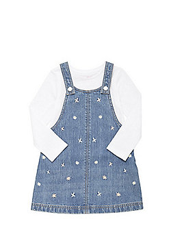 F&F Daisy Embroidered Pinafore and Long Sleeve T-Shirt Set - Mid wash