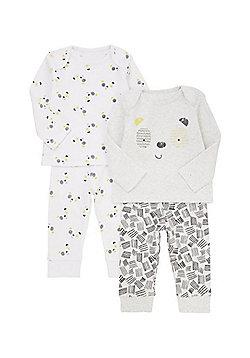 F&F 2 Pack of Monochrome Panda Pyjama Sets - White & Black