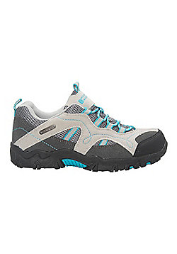 Mountain Warehouse Walking Shoes Stampede Kids Waterproof Suede and Mesh Upper - Aqua