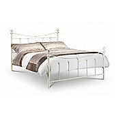 """Premier Classic Stone White Style Metal Bed Frame Double High Foot End - 4ft 6"""" (135cm)"""