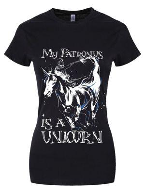My Patronus Is A Unicorn Women's T-shirt, Black.