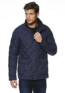 F&F Down Fill Diamond Quilted Shower Resistant Jacket - Navy