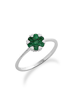 Gemondo Emerald Ring, 9ct White Gold 0.38ct Emerald Floral Cluster Ring
