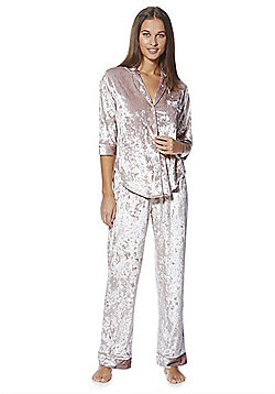 F&F Crushed Velvet Pyjamas - Blush pink