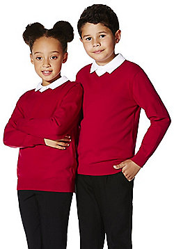F&F School Unisex V-Neck Jumper with As New Technology - Red