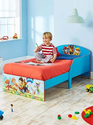 Paw Patrol Toddler Bed Blue & Deluxe Foam Mattress