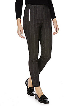 F&F Side Zip Checked Trousers - Black