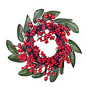 Artificial Red Berry & Green Laurel Christmas Wreath